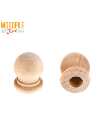"""Wood Finial Dowel Caps With 1/4"""" Hole - 3/4"""""""
