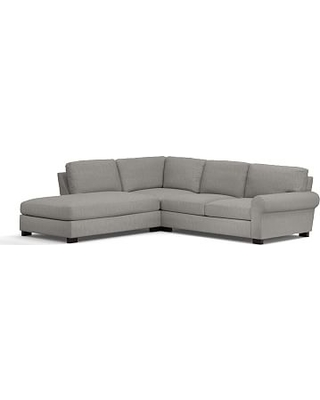 Turner Roll Arm Upholstered Right 3-Piece Bumper Sectional, Down Blend Wrapped Cushions, Sunbrella(R) Performance Sahara Weave Charcoal