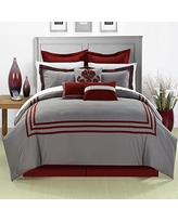 Chic Home 8-Piece Cosmo Embroidered Comforter Set, Queen, Red