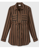 Maternity Striped Long Sleeve Woven Popover Tunic - Isabel Maternity by Ingrid & Isabel Brown/Black L