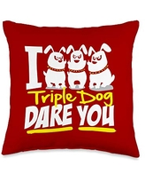 Detour Shirts I Triple Dog Dare You Funny Saying Graphic Throw Pillow, 16x16, Multicolor