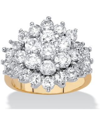Yellow Gold-plated Cubic Zirconia Ring - White (8)
