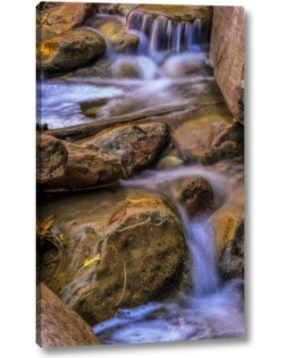 """Millwood Pines 'USA Utah Zion NP Rocks in stream' by Jay O'Brien Giclee Art Print on Wrapped Canvas BF099149 Size: 16"""" H x 10"""" W x 1.5"""" D"""