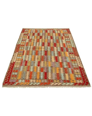 """One-of-a-Kind Hand-Knotted New Age 6'5"""" x 9'7"""" Wool Area Rug in Brown"""