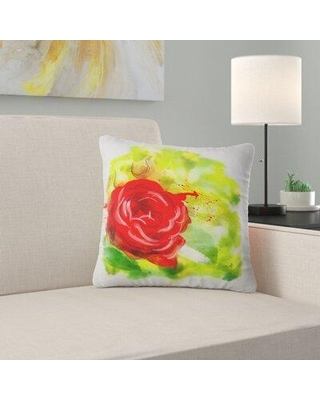 """East Urban Home Floral Bright Rose Pillow FUSI5479 Size: 18"""" x 18"""" Product Type: Throw Pillow"""