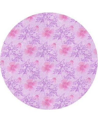 East Urban Home Hartsfield Floral Wool Purple Area Rug X113440008 Rug Size: Round 5'