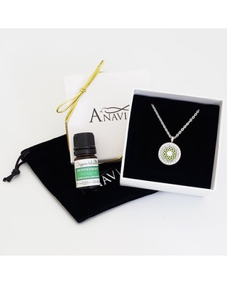 Anavia Aromatherapy Starter Kit Dream Catcher Anniversary Day Gift for Her Diffuser Crystal Rhinestone Necklace & Organic Essential Oil Jewelry Gift Set - Silver Necklace & Peppermint Oil