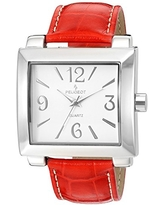 Peugeot Women's Silver Red Leather Easy Read Big Face Watches 706RD
