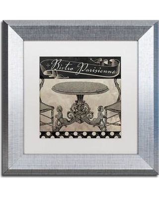 """Trademark Art 'Bistro Parisienne I' by Color Bakery Framed Graphic Art ALI4240-S1 Size: 11"""" H x 11"""" W x 0.5"""" D Mat Color: White"""