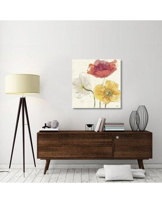"""East Urban Home 'Painted Poppies V' Graphic Art Print on Canvas ERBR1700 Size: 36"""" H x 36"""" W x 1.5"""" D"""