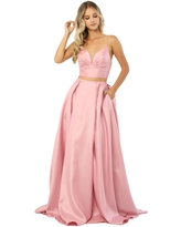 Nox Anabel - E161 Sleeveless Sweetheart Crop top Two-Piece A-Line Gown