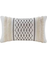 INK+IVY Bea Oblong Embroidered Cotton Oblong Pillow w/ Tassels in Ivory - Olliix II30-998