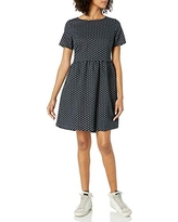 Amazon Brand - Goodthreads Women's Relaxed Fit Washed Linen Blend Short-Sleeve Fit and Flare Dress with Pockets, Black Floral Dot, Small