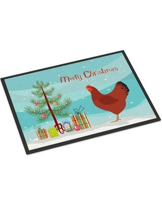 """The Holiday Aisle Elisabeth New Hampshire Chicken Christmas Door Mat HDAY2166 Mat Size: Rectangle 1'6 x 2'3"""""""