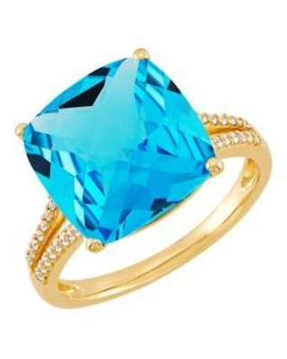 Belk & Co. Gold 8.7 ct. t.w. Sky Blue Topaz and 1/8 ct. t.w. Diamond RIng in 10K Yellow Gold