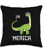 4th Of July Pillows Women Kids Fourth Animal Gifts Merica Brontosaurus Dino American Flag US 4th Of July Animal Throw Pillow, 16x16, Multicolor