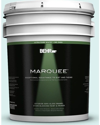 BEHR MARQUEE 5 gal. #500A-1 Glacier Bay Semi-Gloss Enamel Exterior Paint and Primer in One