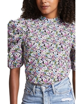 River Island Floral Poplin Puff Sleeve Top, Size 10 Us in Green at Nordstrom