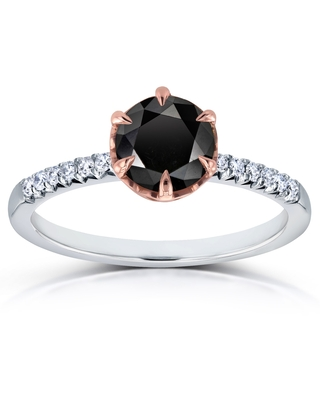 Annello by Kobelli 14k Two Tone Gold 1 1/8ct TDW Black and White Diamond Engagement Ring (8)