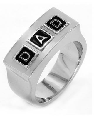 Coastal Jewelry Polished Stainless Steel 'DAD' Engraved Ring (10mm)