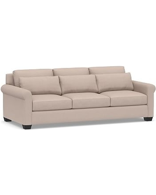 """York Deep Seat Roll Arm Upholstered Grand Sofa 98"""", Down Blend Wrapped Cushions, Performance Heathered Tweed Desert"""