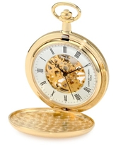 Charles-Hubert, Paris 3909-G Classic Collection Gold-Plated Hunter Case Mechanical Pocket Watch