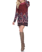 White Mark Burgundy Sandrine Embroidered Sweater Dress