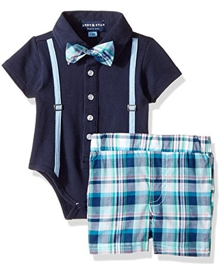 Andy & Evan Baby Boys' Polo Shirtzie with Plaid Woven Short, Navy, 3/6