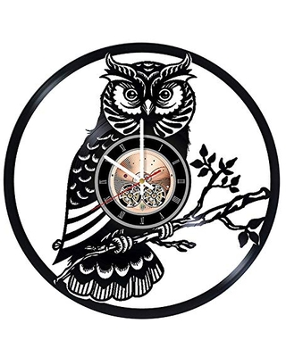 Owl Vinyl Wall Clock, Owl Wall Art, Owl Wall Decor, Owl Gifts, Owl Ornament, Owl Room Decor, Owl Nature Artwork