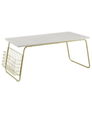 Forest Gate™ 40-Inch Coffee Table with Wire Rack in White Faux Marble/Gold