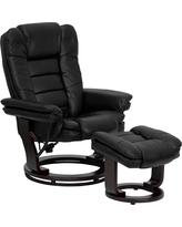 Leather Recliner and Ottoman Black - Belnick