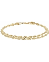 Everlasting Gold 10k Gold Double Rope Chain Bracelet - 7.5-in., Women's, Size: 7.25, Yellow
