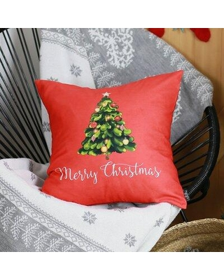 New Deal On The Holiday Aisle Lomanto Merry Christmas Tree Throw Pillow Cover Polyester Polyester Blend In Red Size 18x18 Wayfair