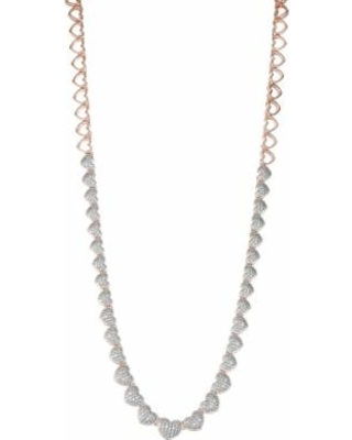 """""""14K Rose Gold over Sterling Silver 1/10 Carat T.W. Diamond Hearts Necklace, Women's, Size: 16"""", White"""""""