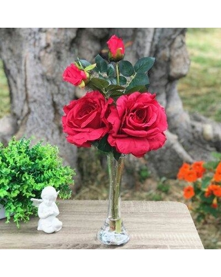 House of Hampton Large Silk Open Roses Floral Arrangement and Centerpieces in Vase W000999168 Flowers/Leaves Color: Red