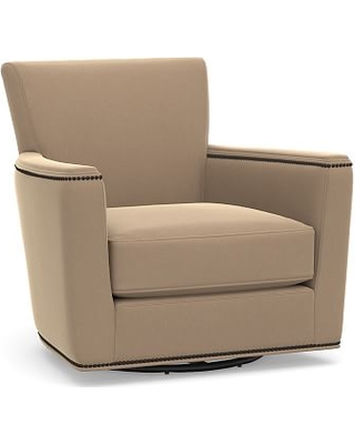 Irving Square Arm Upholstered Swivel Armchair with Bronze Nailheads, Polyester Wrapped Cushions, Performance Plush Velvet Camel