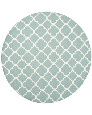 Safavieh Dhurries Blue/Ivory 7 ft. x 7 ft. Round Area Rug