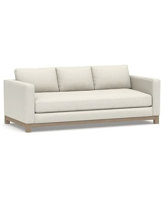 "Jake Upholstered Sofa 85"" with Wood Legs, Polyester Wrapped Cushions, Performance Boucle Oatmeal"