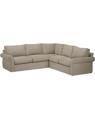 Pearce Roll Arm Slipcovered 2-Piece L-Shaped Sectional, Down Blend Wrapped Cushions, Sunbrella(R) Performance Herringbone Light Gray
