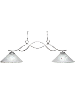 Filament Design 2-Light Aged Silver Billiard Light with 12 in. Frosted Crystal Glass
