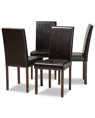 Baxton Studio Set of 4 Andrew Dining Chair with Polyurethane Foam Cushioning Wooden Frame and Faux Leather Upholstery in Dark