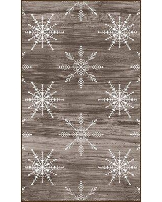Amazing Deal On The Holiday Aisle Triplett Barnwood Snowflakes Driftwood Ash Area Rug Polyester In Brown Tan Size Rectangle 2 X 3 4 Wayfair