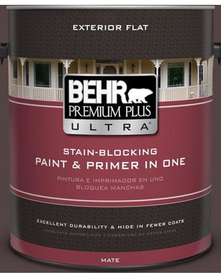 BEHR Premium Plus Ultra 1 gal. #PPU1-01 Folklore Flat Exterior Paint and Primer in One