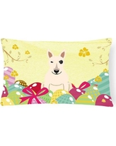 The Holiday Aisle Easter Eggs Bull Terrier Indoor/Outdoor Lumbar Pillow THLA4406