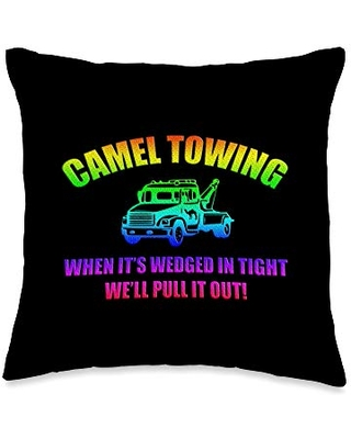 Tight Camel Rainbow Funny Camel Towing Services Watercolor Throw Pillow, 16x16, Multicolor