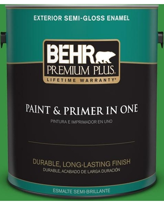 BEHR Premium Plus 1 gal. #440B-7 Par Four Green Semi-Gloss Enamel Exterior Paint and Primer in One