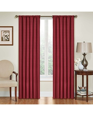 """ECLIPSE Kendall Solid Blackout Window Curtains for Bedroom (Single Panel), 42"""" x 63"""", Ruby"""