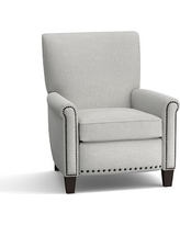 Irving Upholstered Recliner with Bronze Nailheads, Polyester Wrapped Cushions, Basketweave Slub Ash