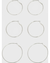 Hoop Earring Set 3ct - A New Day Silver, Size: Small