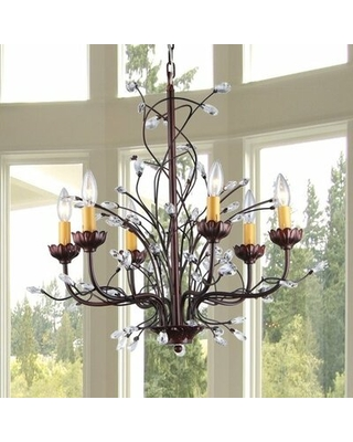 Jeffrey 6 - Light Candle Style Classic Chandelier with Crystal Accents
